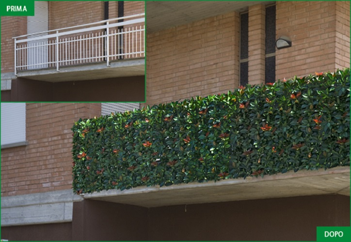Viridium siepe artificiale photinia 50x50 recinto for Siepe finta per terrazzo