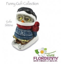 GUFO D'INVERNO CON BOB LES ALPES COLLECTION gufi civetta elfo bosco