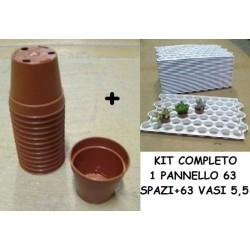ARCA KIT 63 VASI TONDI cm5,5+CONTENITORE SALVASPAZIO cactus cactacee vasetti vasi coltivazione