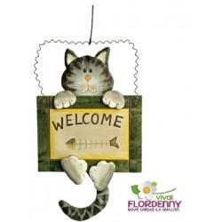 GATTO WELCOME ART1854 legno benvenuto benvenuti casa decoro giardino fiori piant